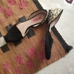 Betsey Johnson Leather Cocoh Cheetah Flats Mules